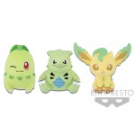 POKEMON BIG ROUND PLUSH COLORFUL-CHIKORITA・TYRANITAR・LEAFEON- BBC